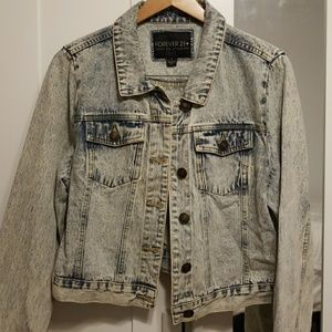 Forever 21 Plus Acid Washed Denim Jacket